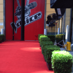 Red carpet leading to backstage of The Voice