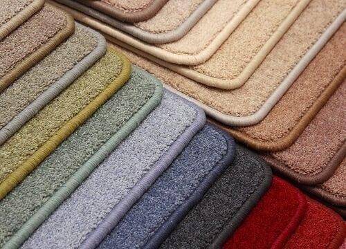 A range of carpet colour samples